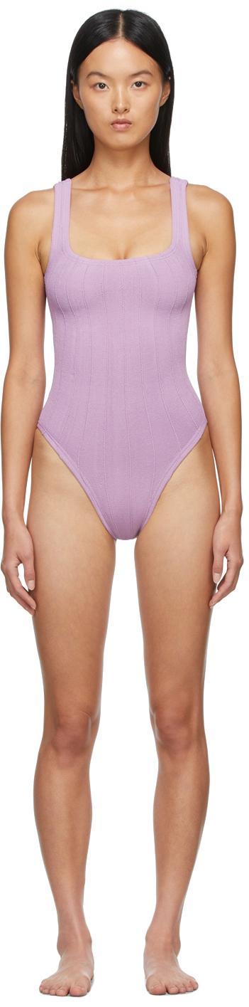 Purple Square Neck Nile One-Piece Swimsuit
