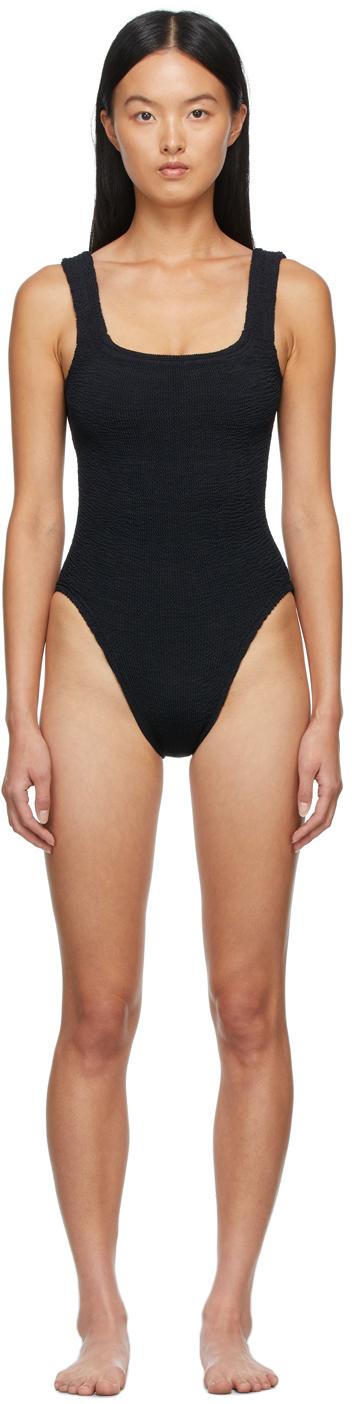 Black Square Neck One-Piece Swimsuit