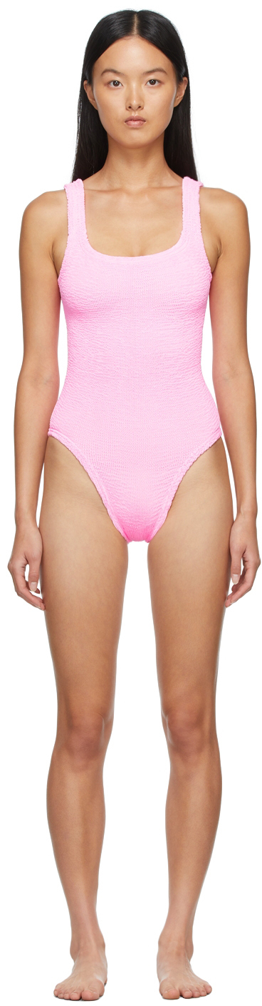 Pink Square Neck One-Piece Swimsuit