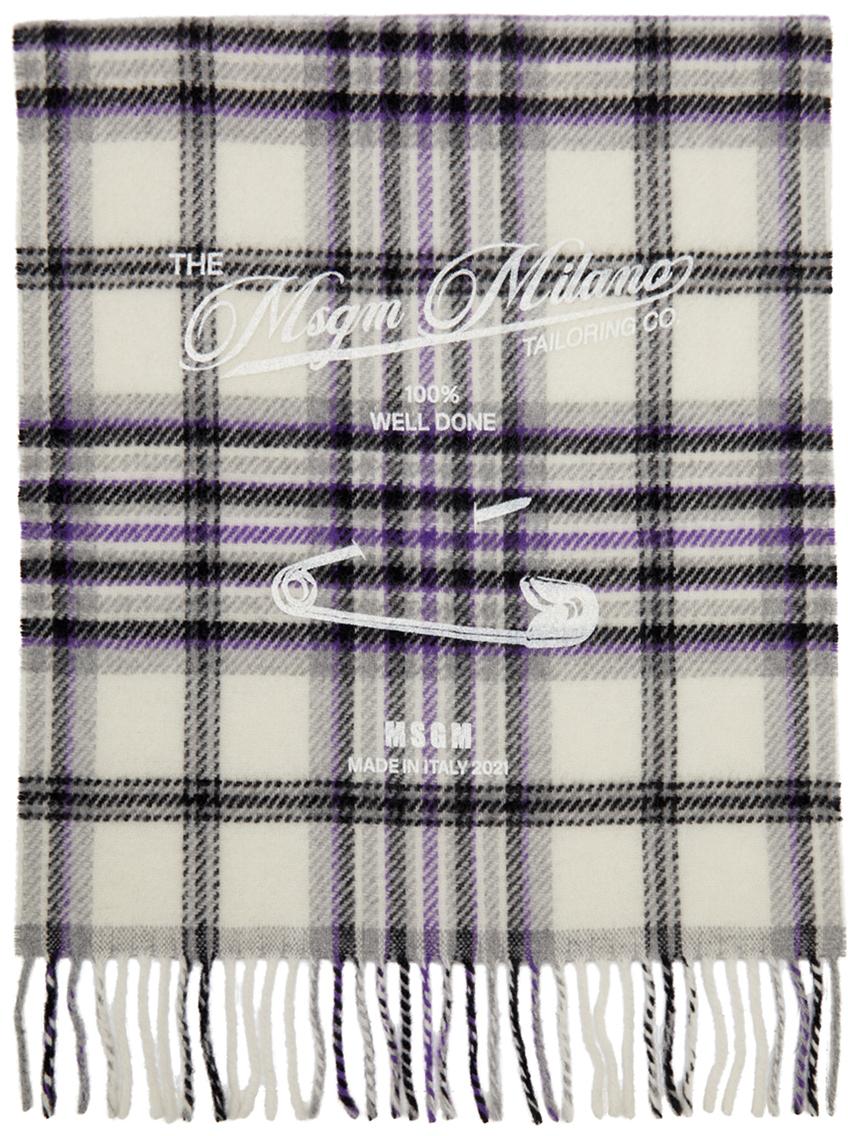 Off-White Plaid Safety Pin Scarf