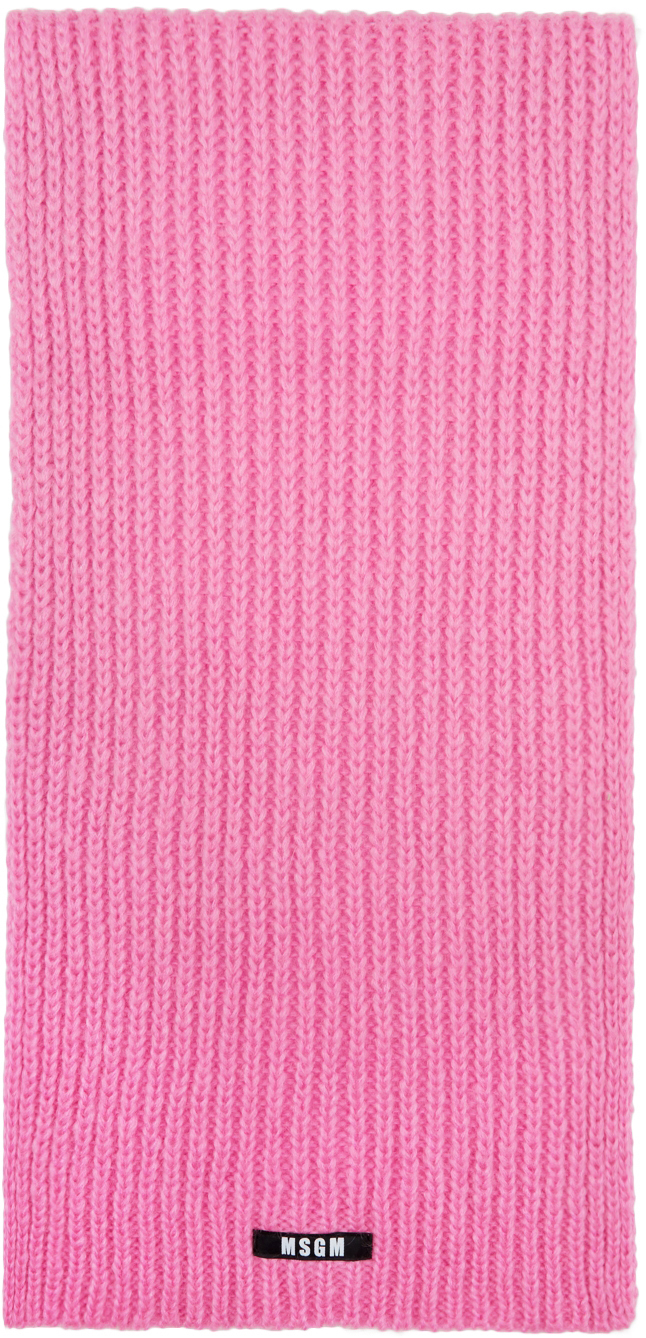 Pink Knit Mohair Scarf