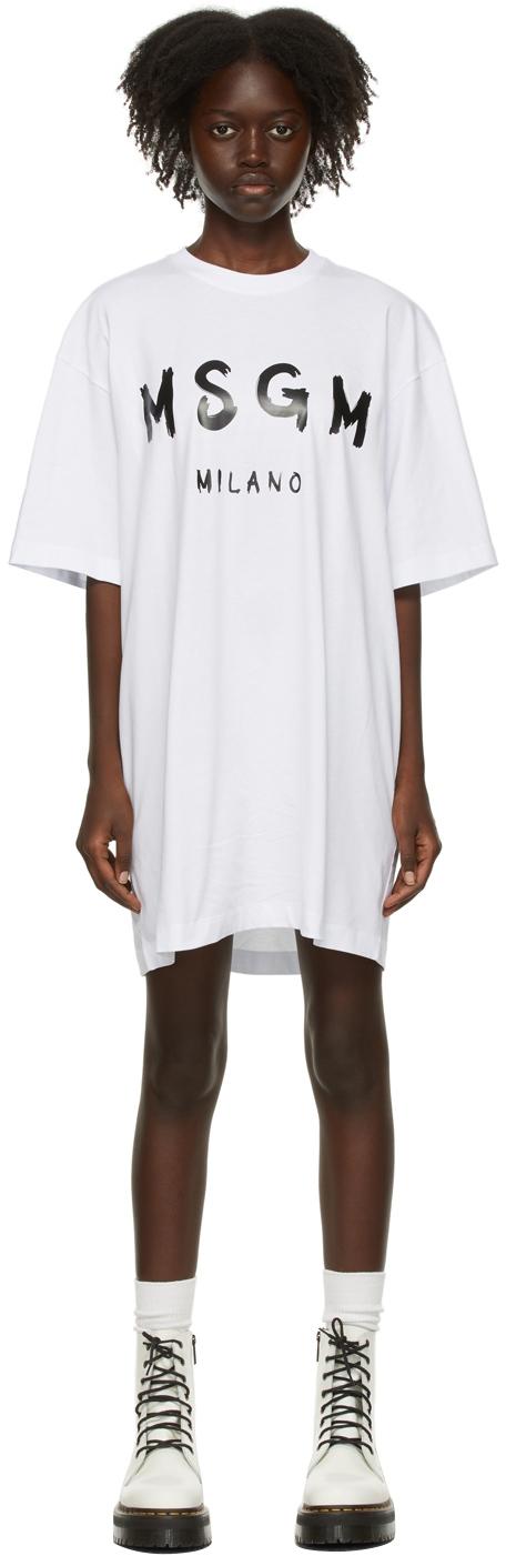 White Brush Logo T-Shirt Dress