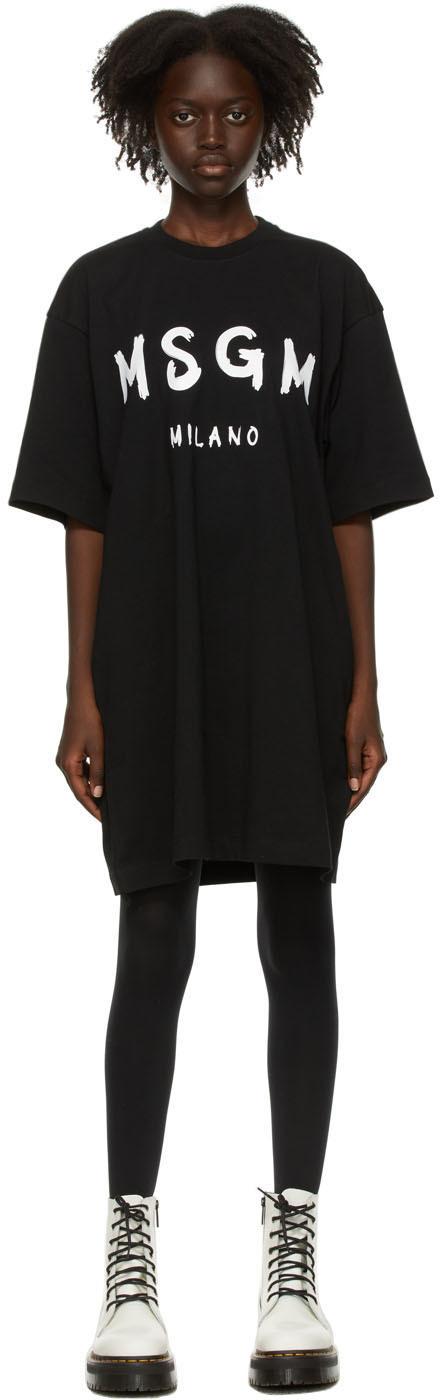 Black Brush Logo T-Shirt Dress