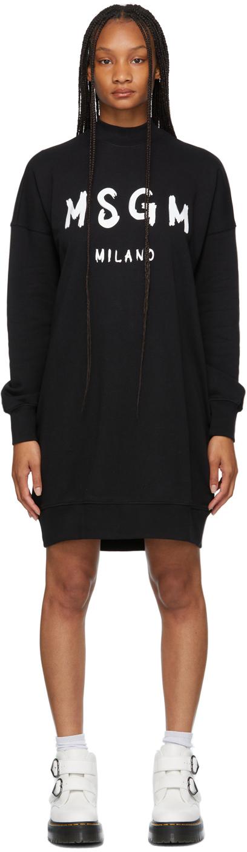 Black Brush Stroke Logo Short Dress