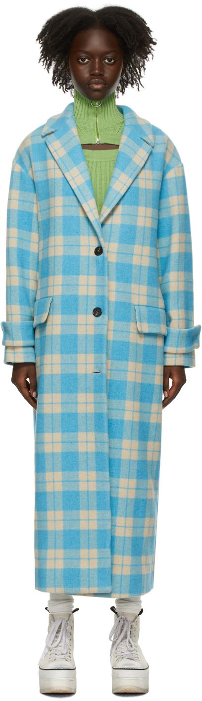Blue & Beige Check Wool Coat