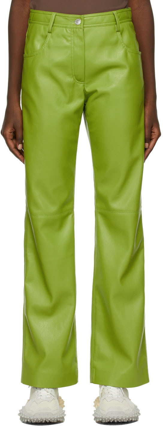 Green Faux-Leather Trousers