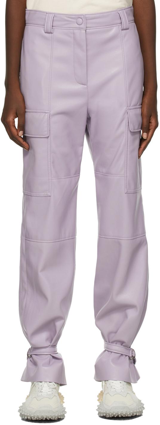 Purple Faux-Leather Cargo Pants