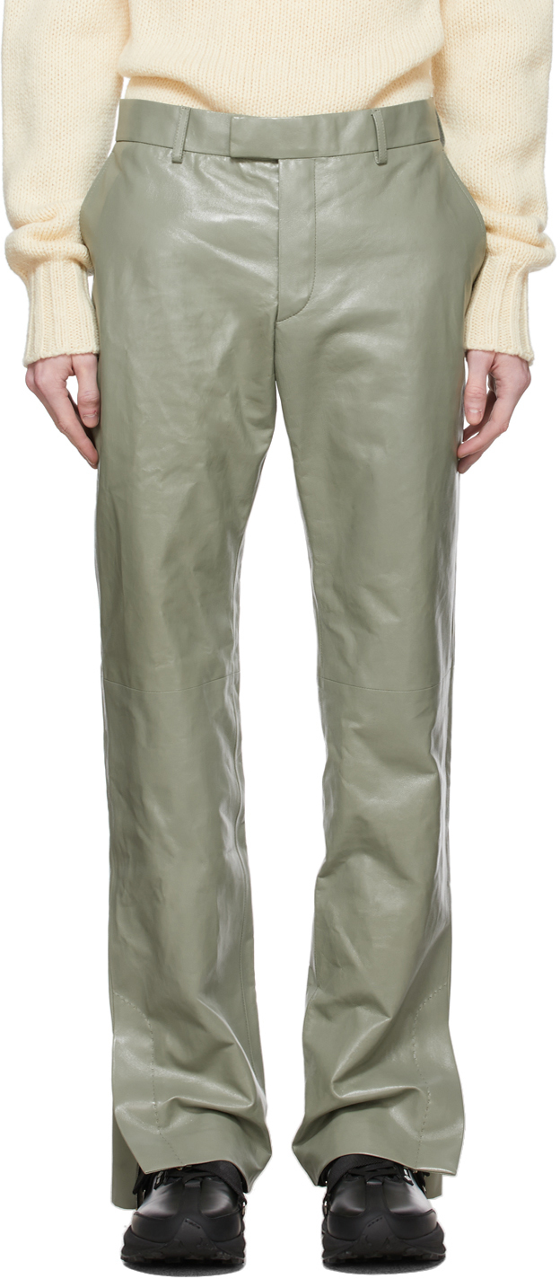 Green Leather Zip Trousers