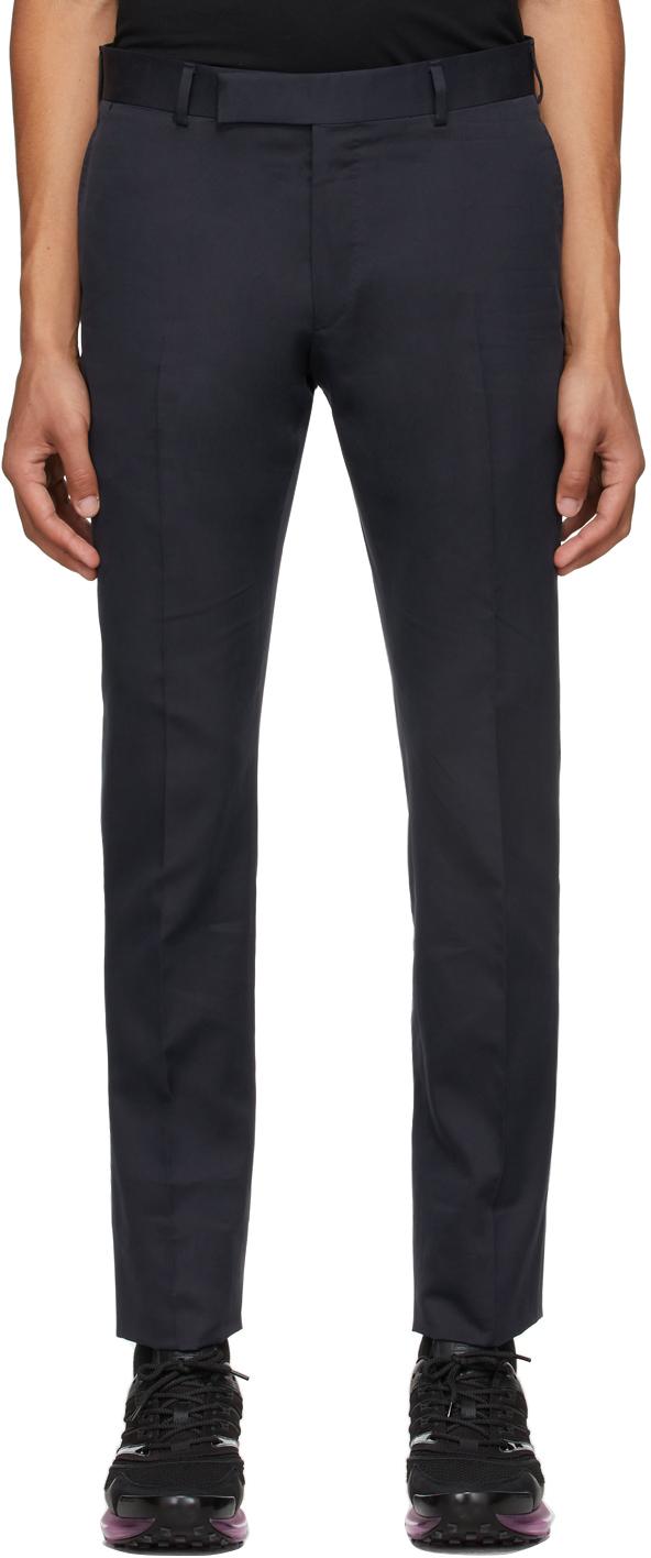 Navy Single Pleat Trousers