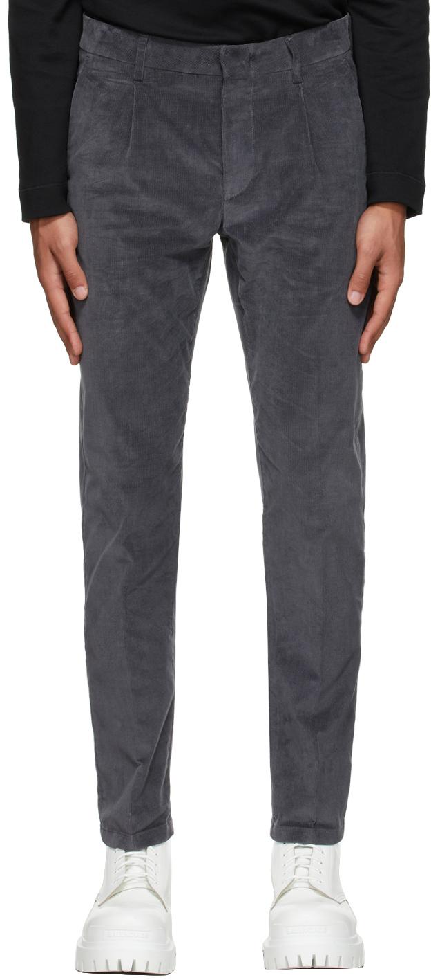 Grey Corduroy Pleat Trousers