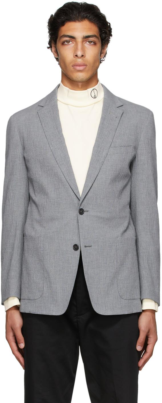 Grey Seersucker Mayfair Blazer