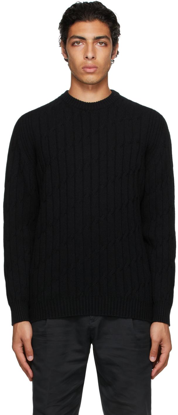 Black Knurl Cable Sweater