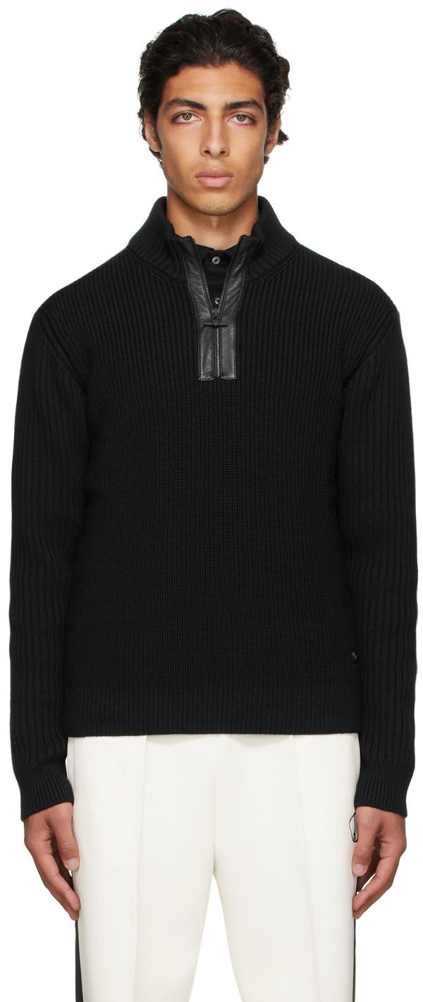 Black Engineered Half-Zip Sweater