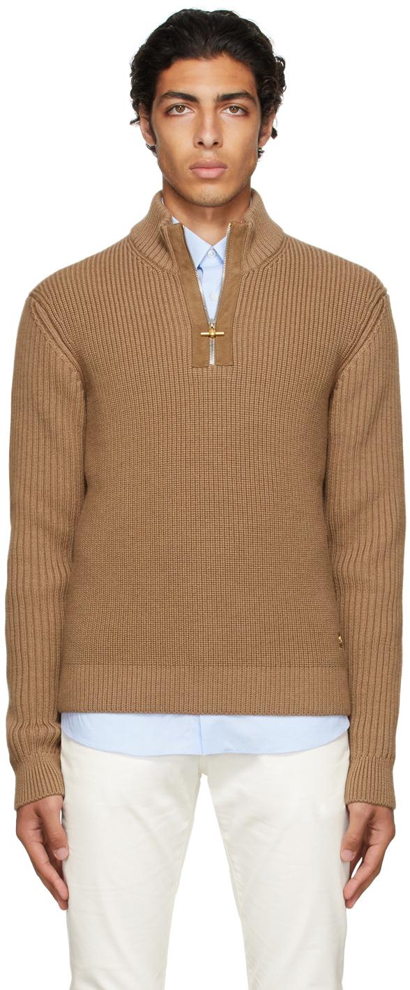 Brown Engineered Half-Zip Sweater