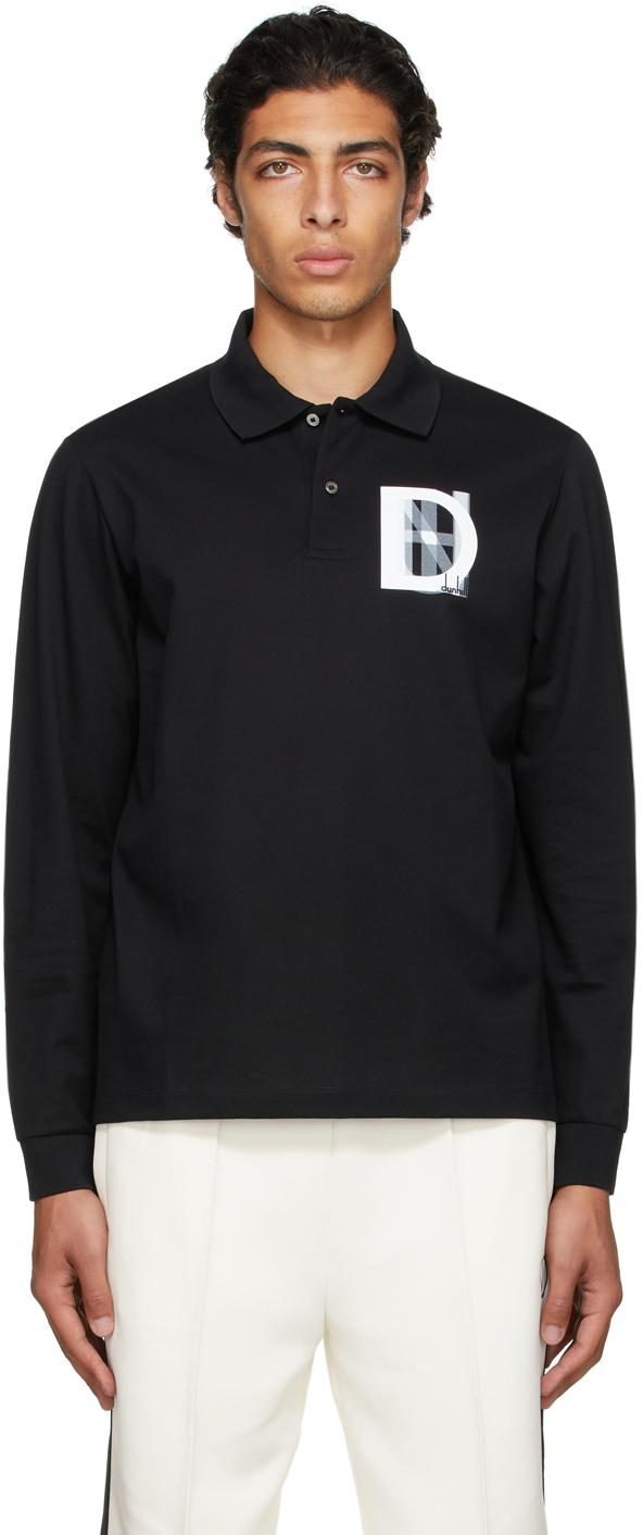 Black Overprint Long Sleeve Polo
