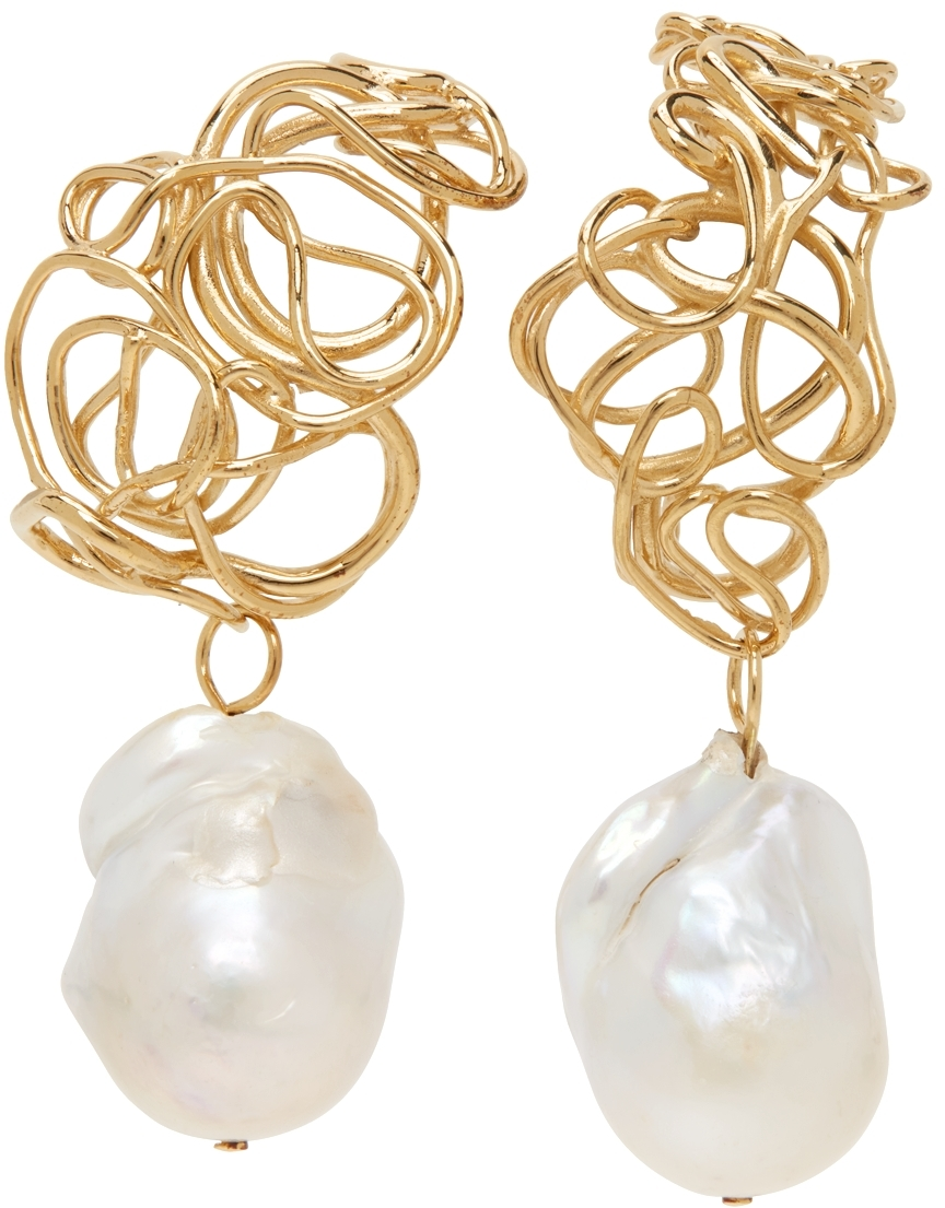Gold Twisted Pearl Earrings