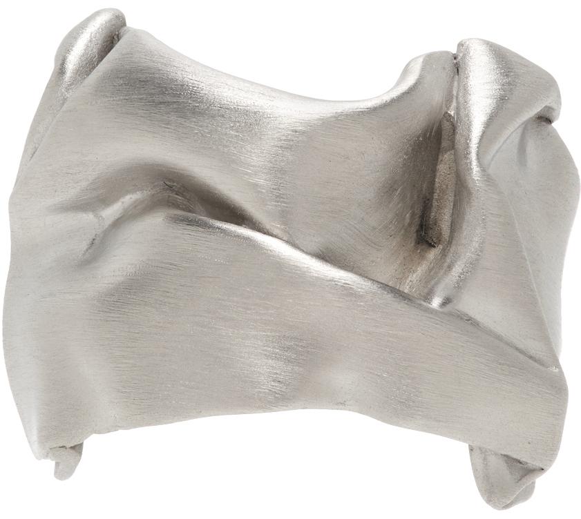 Silver Crinkled Ring