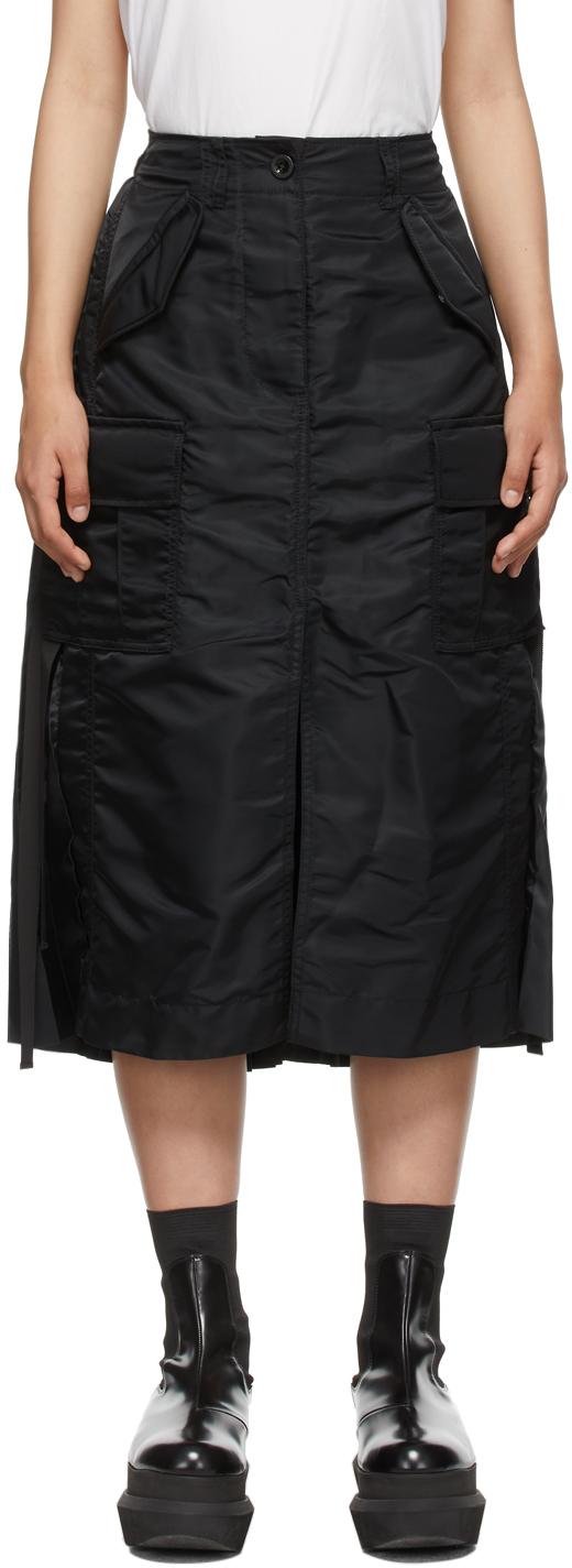 Black Nylon Twill Mid-Length Skirt