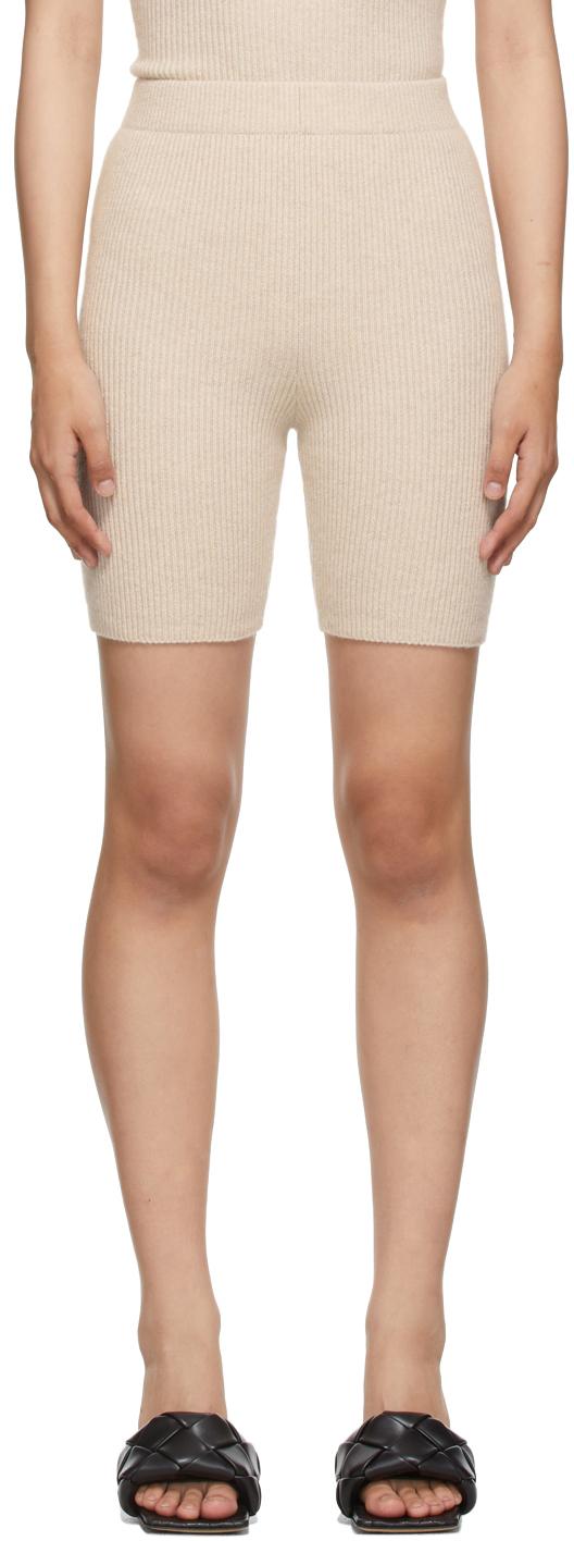 Beige Joelle Rib Shorts