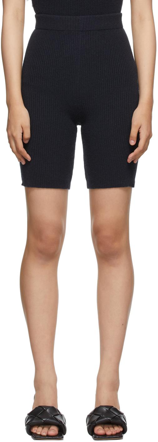 Navy Joelle Rib Shorts