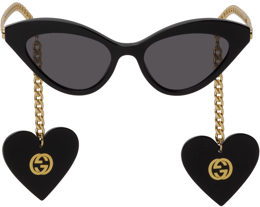 Black Chain Cat-Eye Sunglasses