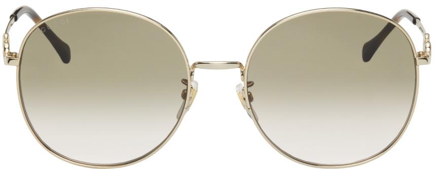Gold & Brown Horsebit Sunglasses