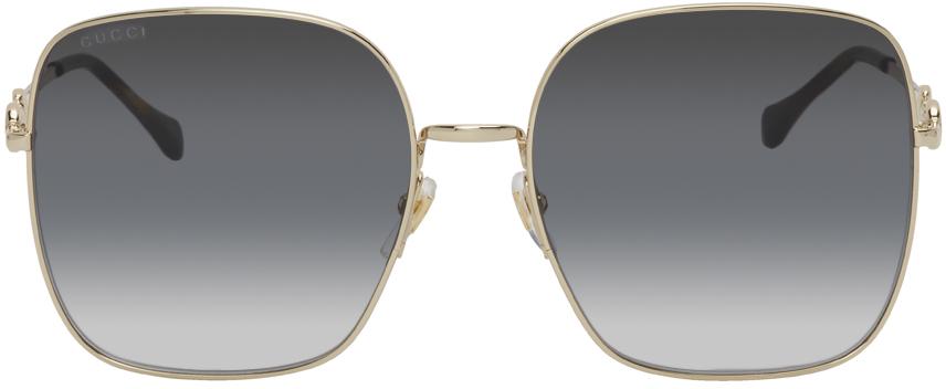 Gold & Grey Horsebit Square Sunglasses