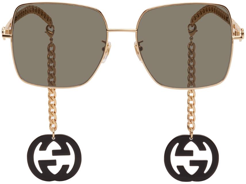 Gold & Black Square Chain Sunglasses