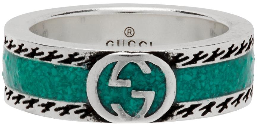 Silver & Green Interlocking G Ring