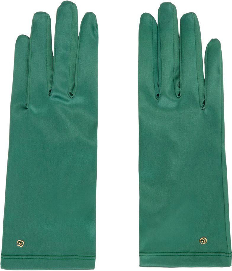 Green Satin Gloves