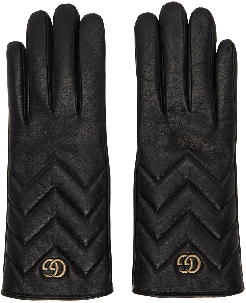 Black Leather GG Marmont Gloves
