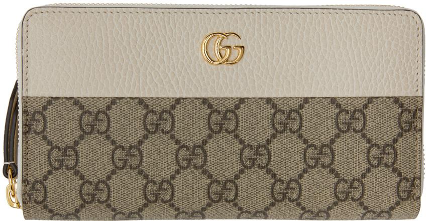 Gucci 驼色 GG Marmont 环绕式拉链钱包