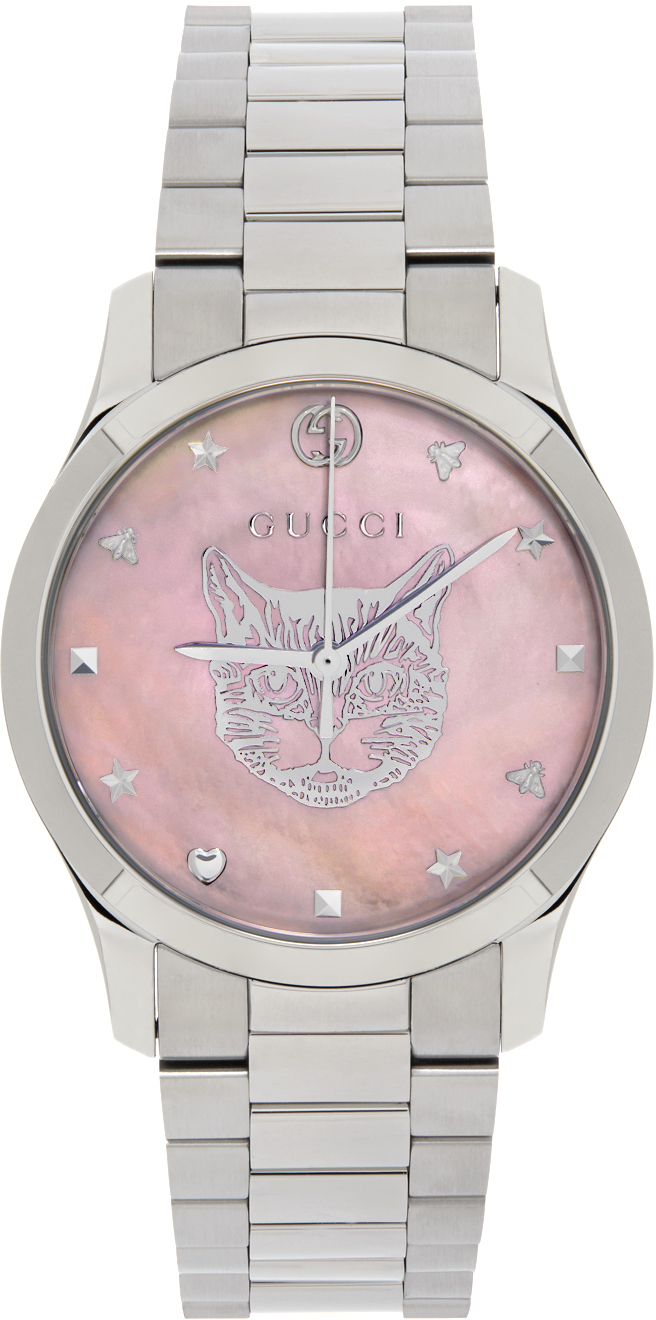 Silver & Pink 38 mm G-Timeless Iconic Cat Watch