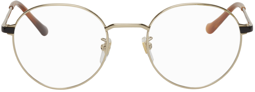 Gucci Gold Round Glasses In 005 Gold