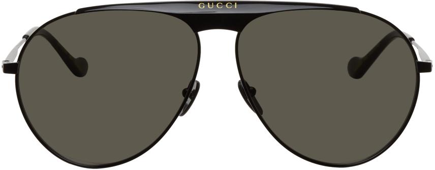 Gucci 黑色徽标飞行员太阳镜