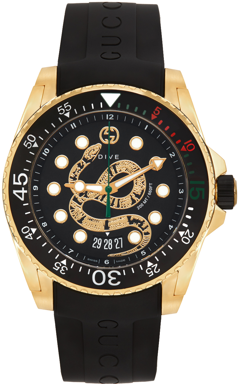 Black & Gold Snake Dive Watch