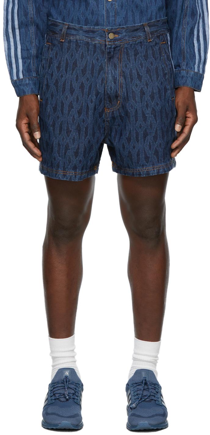 Blue Denim Monogram Shorts