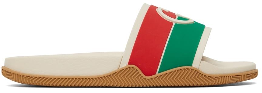 Gucci Off-White Interlocking G Slide Sandal