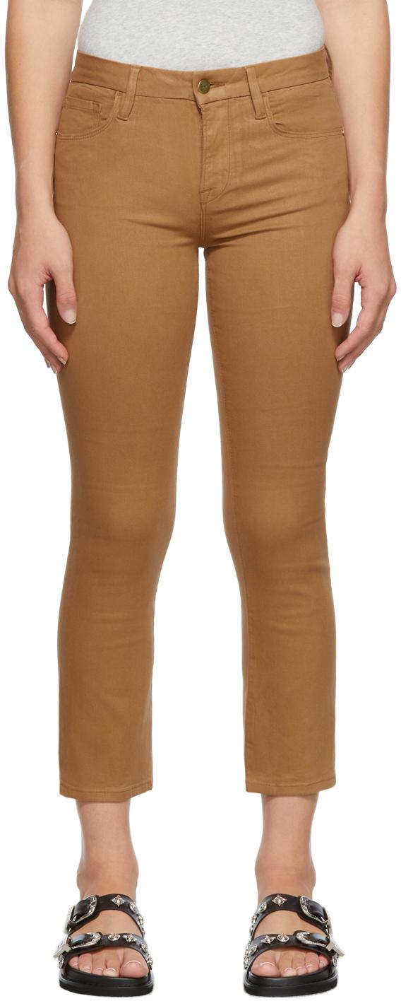 Tan Coated 'Le Crop Mini Boot' Jeans