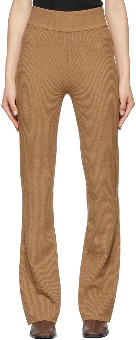 Beige Rib Sweater Lounge Pants