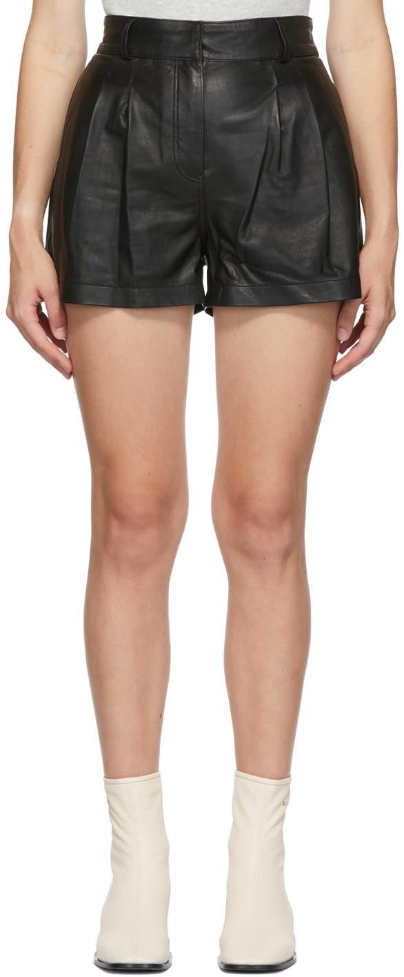 Black Leather Pleated Shorts