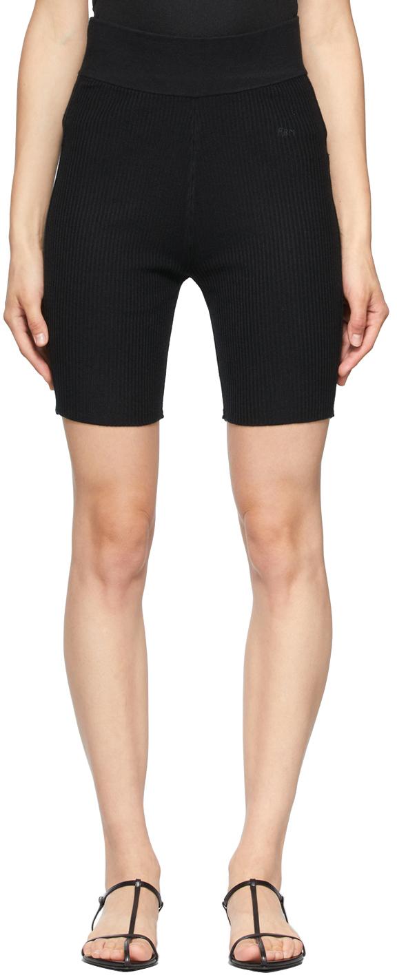 Black Rib Knit Biker Shorts