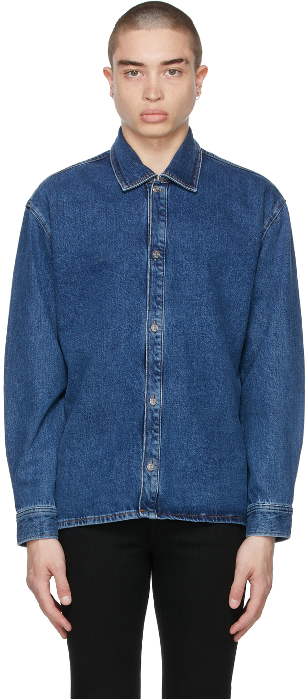 Blue Organic Denim Loose Fit Shirt