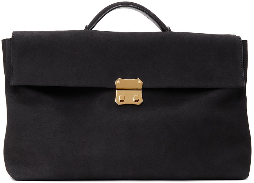 Brown Suede Foldable Briefcase