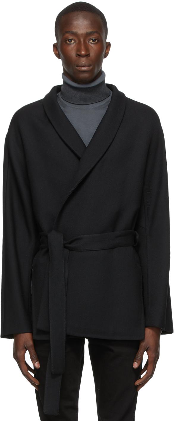 Black Wool Twill Coat