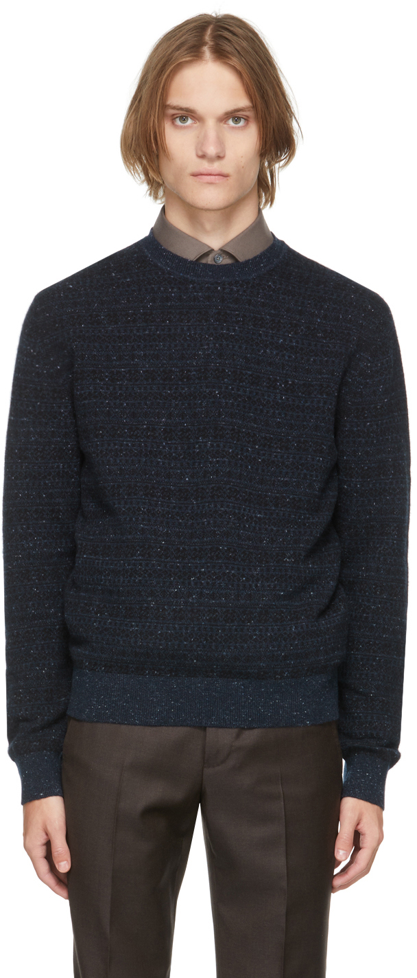 Black & Navy Cashmere Sweater