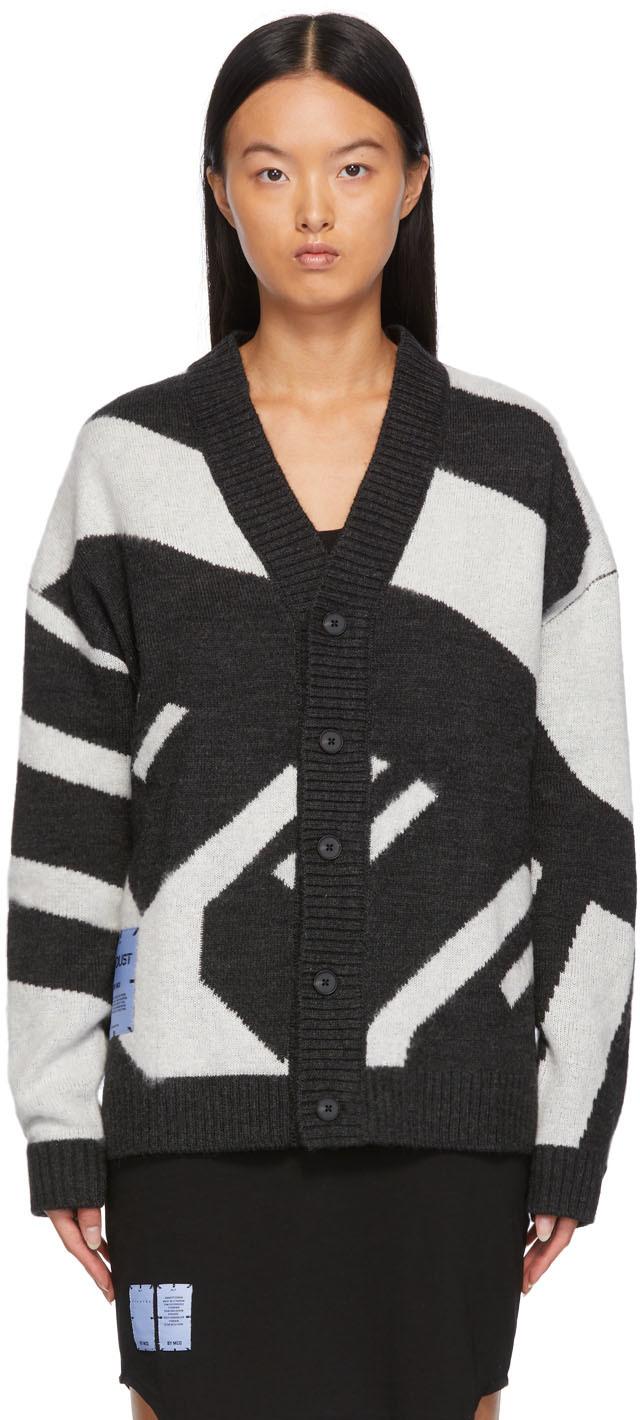 Grey Jacquard Knit Oversized Cardigan