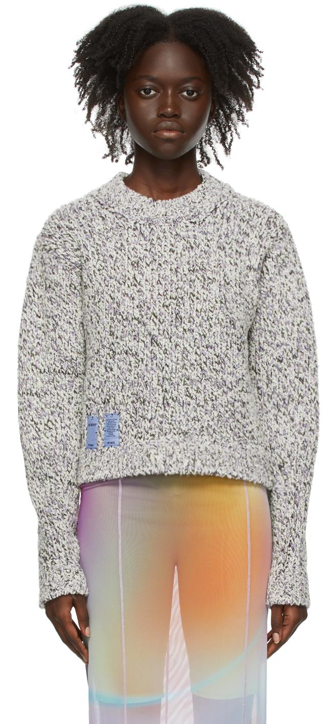 White & Purple Cropped Sweater