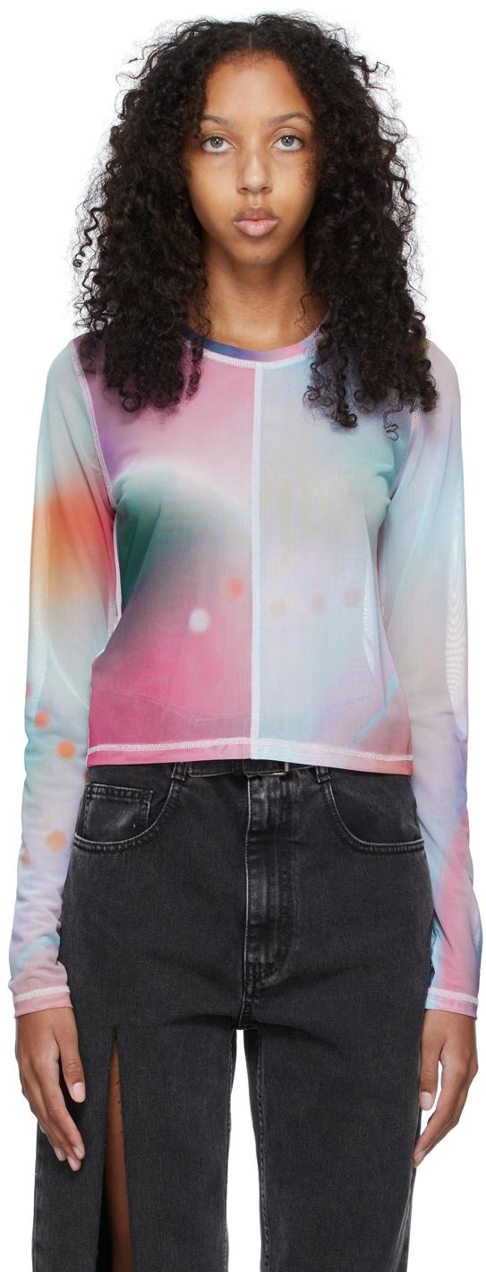 Multicolor Mesh Second Skin Long Sleeve T-Shirt