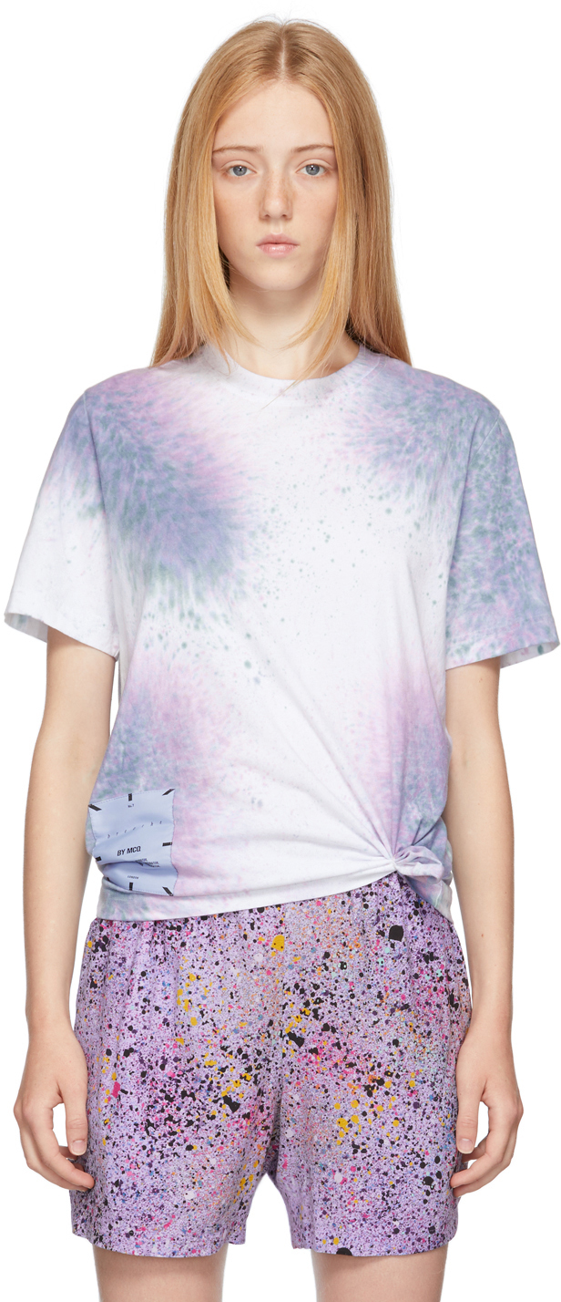 White & Purple Tie-Dye Relaxed T-Shirt